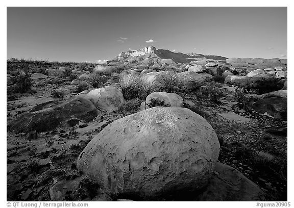 Boulders and Guadalupe range at sunset. Guadalupe Mountains National Park (black and white)
