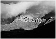 El Capitan and low clouds at sunrise. Guadalupe Mountains National Park ( black and white)