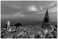 Cairn and monument on summit of Guadalupe Peak. Guadalupe Mountains National Park, Texas, USA. (black and white)