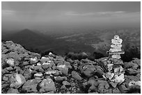 Cairn and shadow of mountain, Guadalupe Peak. Guadalupe Mountains National Park, Texas, USA. (black and white)