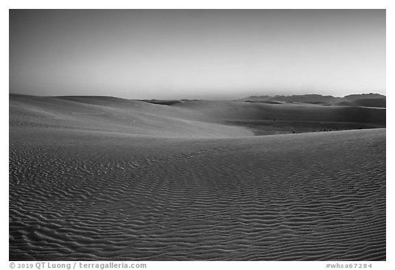 Dunes and mountains at dusk. White Sands National Park (black and white)
