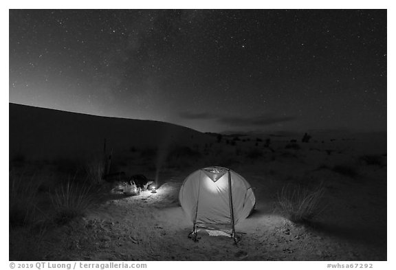 Backcountry campsite at night. White Sands National Park (black and white)