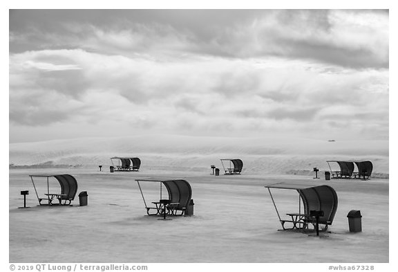 Shelters in picnic area. White Sands National Park (black and white)