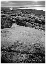 View over Atlantic from top of Mt Cadillac with granite slab covered with lichen. Acadia National Park ( black and white)