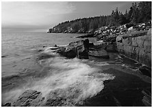 Surf and granite  coast near Otter Cliffs, morning. Acadia National Park ( black and white)