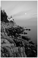 Bass Harbor lighthouse, sunset. Acadia National Park ( black and white)