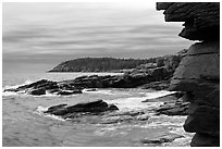 Granite seacliffs near Thunder Hole, highest on Atlantic Coast. Acadia National Park ( black and white)