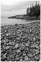 Pebbles and cove, Hunters beach. Acadia National Park ( black and white)