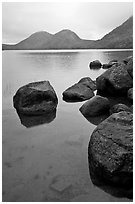 Boulders and the Bubbles, Jordan Pond. Acadia National Park ( black and white)