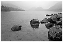 Jordan Pond on misty morning. Acadia National Park ( black and white)