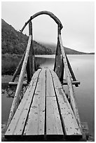 Footbridge and fog in autumn. Acadia National Park ( black and white)