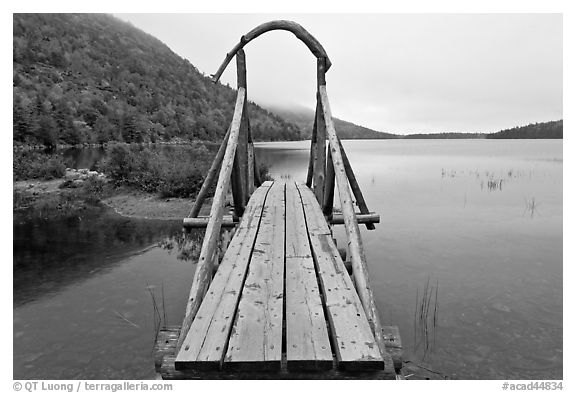 Footbridge, Jordan Pond. Acadia National Park (black and white)