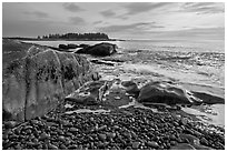 Seascape with pebbles, waves, and island, Schoodic Peninsula. Acadia National Park ( black and white)