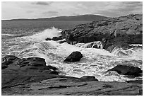 Wave, Schoodic Point, and Cadillac Mountain. Acadia National Park ( black and white)