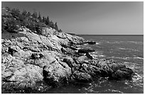 Rocky coast and blue waters, Isle Au Haut. Acadia National Park ( black and white)