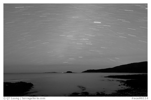 Star trails above coast, Schoodic Peninsula. Acadia National Park (black and white)