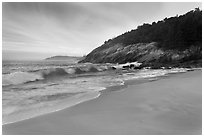 Ocean surf and Sand Beach. Acadia National Park ( black and white)