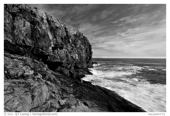 Great Head and ledge. Acadia National Park (black and white)