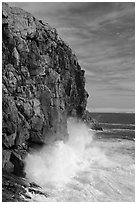 Surf crashing at base of Great Head. Acadia National Park ( black and white)