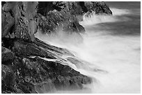 Fog-like water from long exposure at base of cliff. Acadia National Park ( black and white)