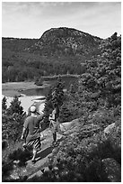 Hikers above Sand Beach. Acadia National Park ( black and white)