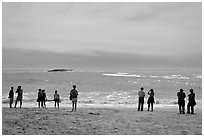 People standing on Sand Beach. Acadia National Park ( black and white)