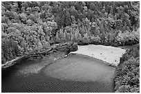 Beach on Echo Lake seen from above. Acadia National Park ( black and white)