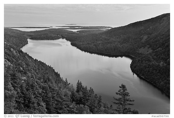 Jordan Pond from above, sunset. Acadia National Park (black and white)