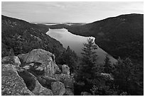 Forested hills and Jordan pond from above at dusk. Acadia National Park ( black and white)