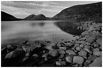 Rocks, Jordan Pond and the Bubbles. Acadia National Park ( black and white)