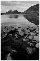 Jordan Pond and the hills named the Bubbles. Acadia National Park ( black and white)