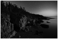 Ravens Nest with stary sky at moonset, Schoodic Peninsula. Acadia National Park ( black and white)