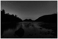 Jordan Pond and Bubbles at night. Acadia National Park ( black and white)