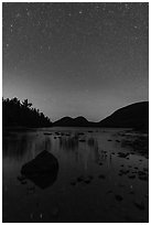 Jordan Pond and Bubbles with starry sky. Acadia National Park ( black and white)
