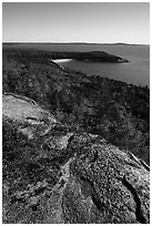Granite slab and Sand Beach from Gorham Mountain. Acadia National Park ( black and white)