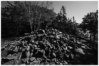 Pile of rocks marking summit of Bar Harbor Island. Acadia National Park ( black and white)