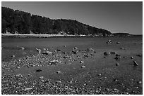 Bar Harbor Island at low tide. Acadia National Park ( black and white)