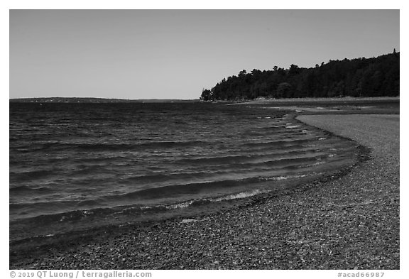 Gravel bar to Bar Harbor Island. Acadia National Park (black and white)