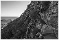 Hikers on Precipice Trail. Acadia National Park ( black and white)