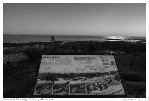 Islands Galore interpretive sign, Cadillac Mountain. Acadia National Park (black and white)