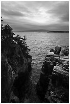 Sea cliffs of Ravens Nest and Cadillac Mountain. Acadia National Park ( black and white)