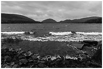 Waves on Eagle Lake. Acadia National Park ( black and white)