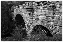 Tripled-arched Duck Brook Bridge. Acadia National Park ( black and white)