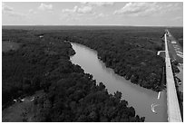Aerial view of Congaree River, Bates Bridge and flooded landing. Congaree National Park ( black and white)