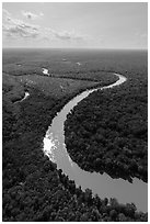 Aerial view of Congaree River with meanders. Congaree National Park ( black and white)