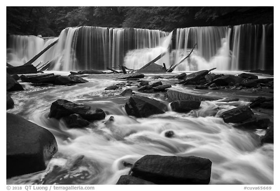 Great Falls, high flow, Bedford Reservation. Cuyahoga Valley National Park (black and white)