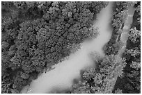 Aerial view of Cuyahoga River and Ohio Erie Canal looking down. Cuyahoga Valley National Park ( black and white)