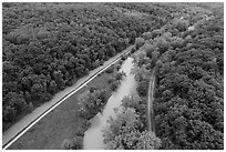 Aerial view of Ohio Erie Canal, Towpath Trail, Cuyahoga River, Scenic Railroad. Cuyahoga Valley National Park ( black and white)