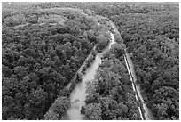 Aerial view of Scenic Railroad along Cuyahoga River and Towpath Trail along Ohio Erie Canal. Cuyahoga Valley National Park ( black and white)