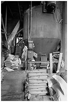 Distributor and bags of bird seeds in Wilson Mill. Cuyahoga Valley National Park ( black and white)